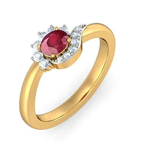 14K Or jaune, 0,14carat Diamant Blanc (IJ | SI) Rubis et diamant Bague