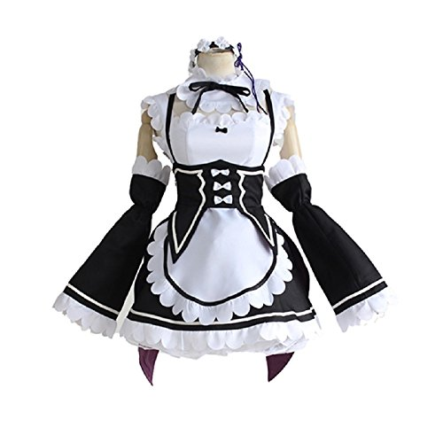 Mtxc Women's Re:Zero Starting Life in Another World Cosplay Ram/Rem Maid UniformSize Small Brown