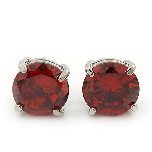 Ruby Red Coloured CZ Round Cut Stud Earrings In Rhodium Plating – 10mm Diameter