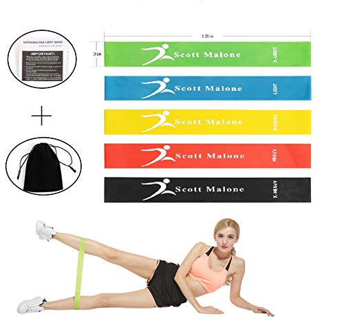 Scotamalone Resistance Bands, Exercise Workout loop Bands For Therapy,Stretching,Yoga and Home Fitness With Instruction Guide ,Carry Bag,Set of 5 (Loop Power)