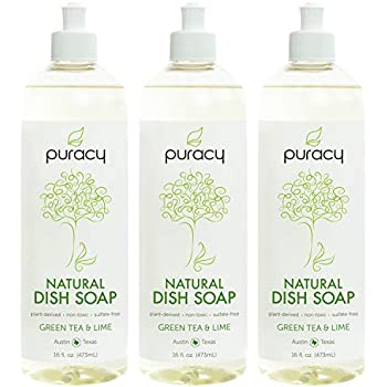 Puracy Natural Dish Soap, Green Tea & Lime, Sulfate-Free Liquid Detergent, 16 Ounce (3-Pack)