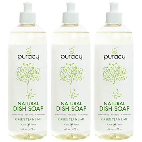 Puracy Natural Liquid Dish Soap, Sulfate-Free Detergent, Green Tea & Lime, 16 Ounce (3-Pack) (Best Organic Dish Soap)