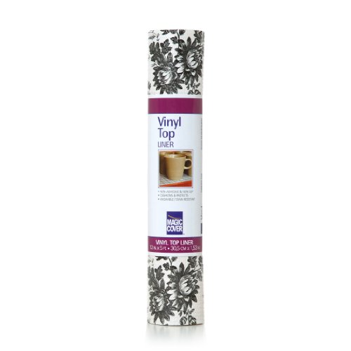 Magic Cover Vinyl Top Non-Adhesive Shelf Liner, 12-Inch by 5-Feet, Toile Black