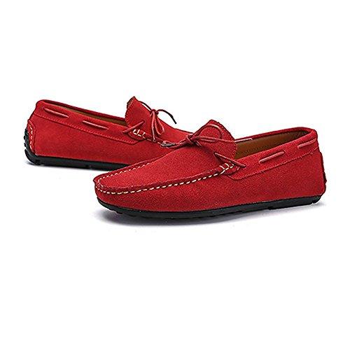44 los Zapatos goma confort EU Gamuza Mocasines para Boat Color tamaño suela cuero de hombre de de Mocasines Penny hombres Sole Zapatos Mocasines Rojo de conducción genuino 2018 de UUpwrqn8