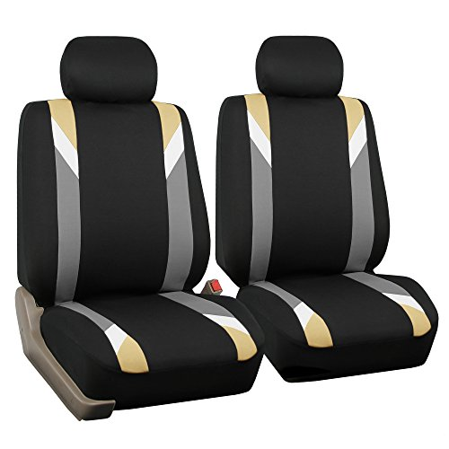- FH GROUP FH-FB033102 Premium Modernistic Seat Covers Beige / Black- Fit Most Car, Truck, Suv, or Van