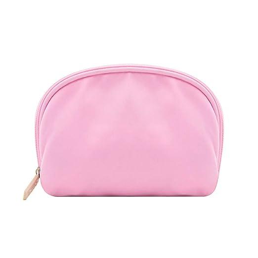 Scrox 1x Bolsas de Maquillaje Profesional Nylon Neceser pequeño Bolsa Viaje Monedero Cosméticos Organizador Portátil Simple Cremallera Estuches (Rosa)