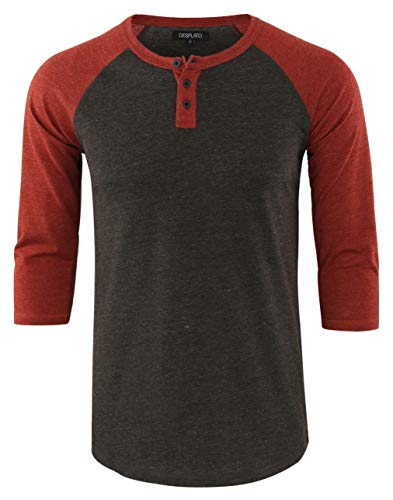 DESPLATO Men's Casual Vintage 3/4 Sleeve Henley Baseball Jersey Knit T Shirts H.Charcoal/Rusty L