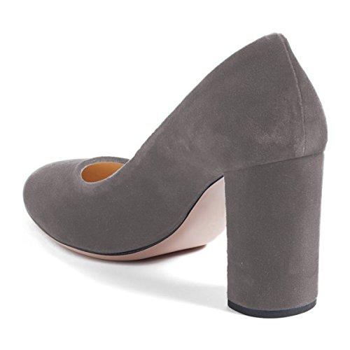Fsj Donne Classiche Tonde A Punta In Velluto Con Grandi Tacchi Alti Slip On Office Dress Shoes Size 4-15 Us Grey