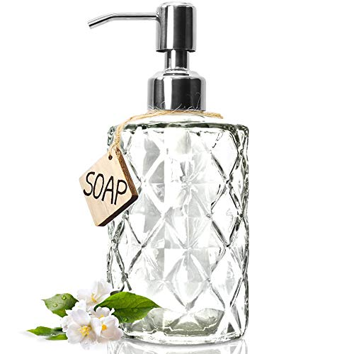 JASAI Diamond Design 12 Oz Clear Glass Soap Dispenser, Kitchen Soap Dispenser with 304 Rust Proof Stainless Steel Pump, Premium Glass Soap Dispenser for Bath and Bathroom (Soap Bath Dispenser)