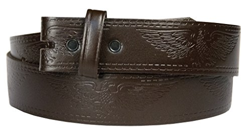 Western Embossed Belt for Buckles 100% Top Grain One Piece Leather, Made in USA (large, brown)#2022 ...