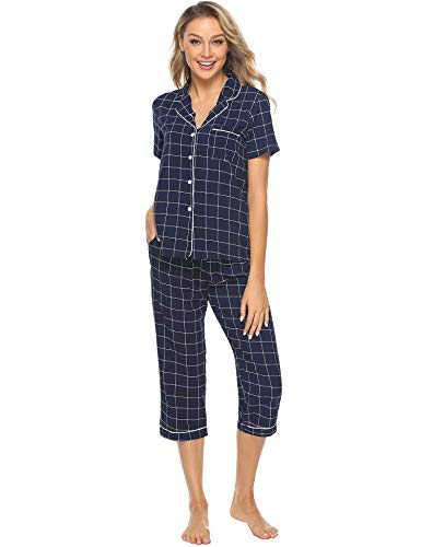 iClosam Women's Sleepwear Plaid Short Sleeve & Cropped Trousers Button Down Pajama Sets S-XL Blue