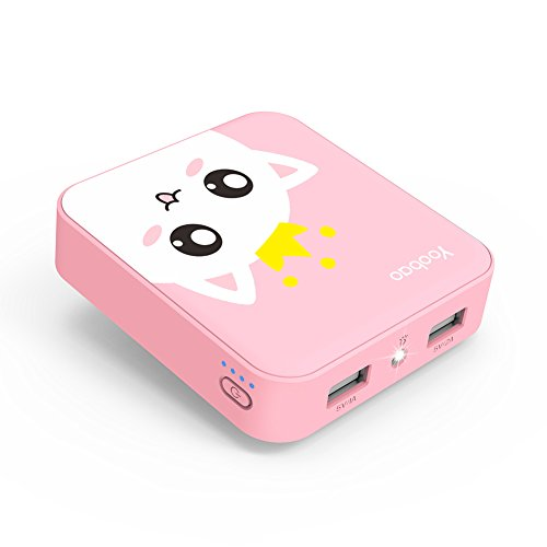 Yoobao M4 10400mAh Small Cute Portable Charger Power Bank External Battery Pack Powerbank Dual USB Battery Bank for iPhone 7 Plus 7 6s 6 iPad Samsung Galaxy Oneplus Nexus LG and More - Pink Cat