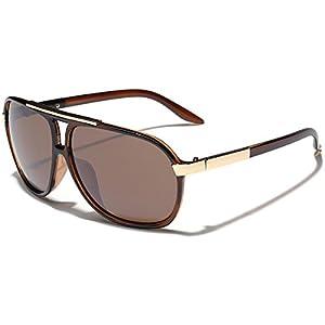 Classic 80s Fashion Aviator Sunglasses Retro Vintage Men's Women's Glasses (Brown, 62)