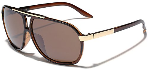 Classic 80s Fashion Aviator Sunglasses Retro Vintage Men's Women's Glasses (Brown, 62) ()