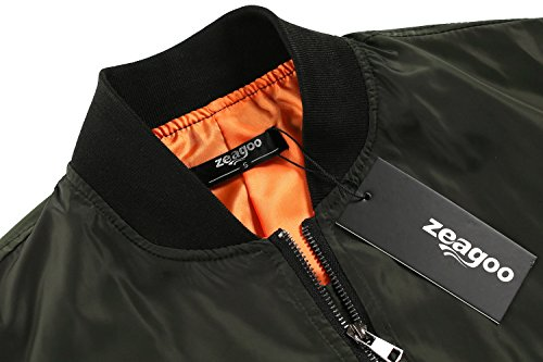 Zeagoo Women Classic Solid Biker Jacket Zip up Bomber Jacket Coat Army Green S by Zeagoo (Image #3)