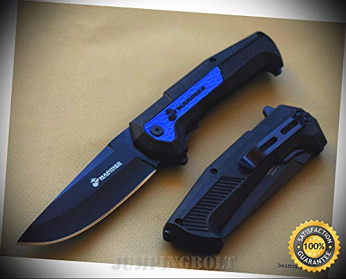 MTECH OFFICIALLY LICENSED USMC SPRING ASSISTED RESCUE SHARP KNIFE WITH POCKET CLIP - Premium Quality Hunting Very Sharp EMT EDC
