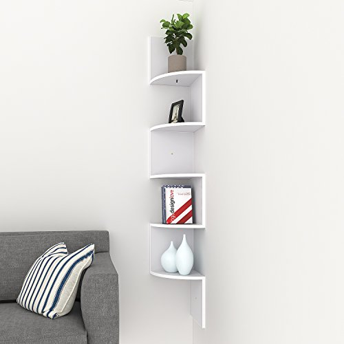 Flyerstoy 5 Tiers Zig Zag Wall Corner Shelf Wall Mounted Floating Organiser Display Storage Unit (White_Zig Zag Shelf)