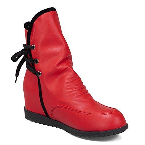 De Courte Femmes Lacets Compense red TAOFFEN Cheville Bottes A Talon Bottines ZFwxtqx5