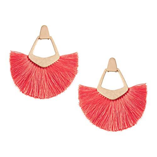 - RIAH FASHION Bohemian Silky Thread Tassel Statement Drop Earrings - Strand Fringe Lightweight Feather Shape Dangles, Diamond Fan, Triangle Duster (Pentagon Fan Tassel - Neon Pink)