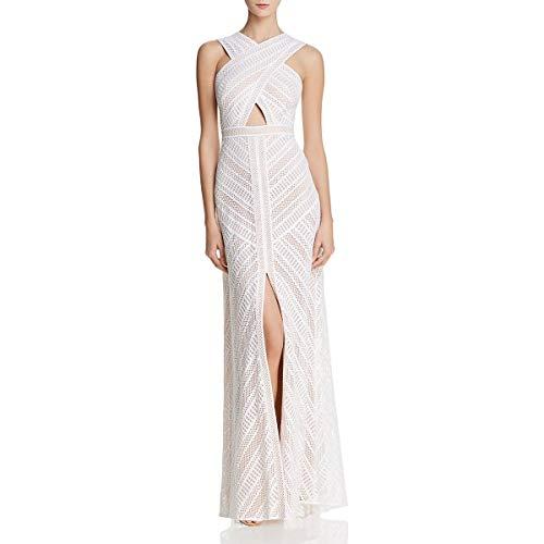 BCBG Max Azria Womens Genelle Crochet Cross-Front Evening Dress Ivory 12 ()