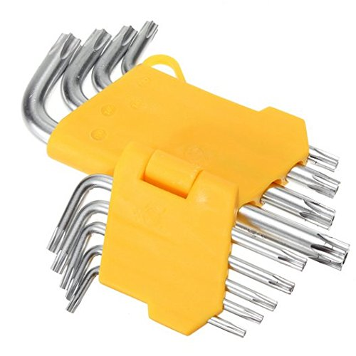 Hooshion 9pc Set Offset Safety Anti Tamper Proof Torx Star Key Bit Wrench L-Shape T10 T15 T20 T25 T27 T30 T40 T45 T50