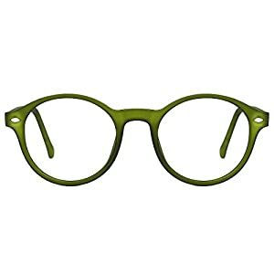 TIJN Men Women Classic Round Non-prescription Glasses Frosted Eyeglasses Frame (green, 48)