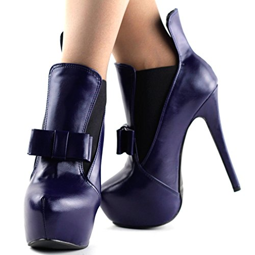 Lady Party Tone Red Blue LF80830 Show Bow Dark Heel Stiletto Story Bootie Ankle Two Blue 5gzUYR