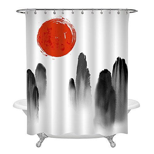 MitoVilla Japanese Shower Curtain for Bathroom Decor, Mountains in Fog and Red Sun Hand Drawn Asian Traditional Watercolor Landscape Fabric Shower Curtain Set with Hooks, Red Black White, 72 x 72