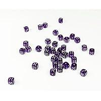Purpletopia 36 Set Transparent Dice with White Dots