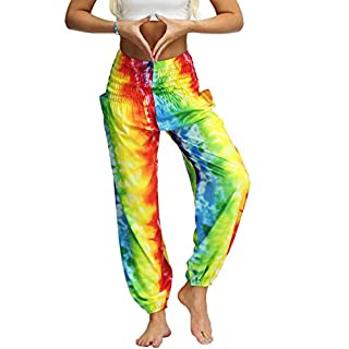 Women's Tie Dye Print Boho Pants Harem Smocked Waist Yoga Hippie Palazzo Casual Summer Beach Pants (One Size, Yellow Stripe)