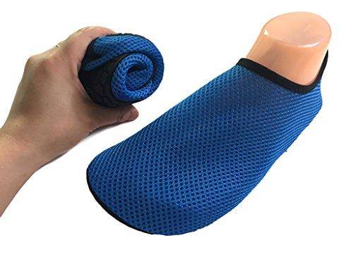 Hysenm Enfants Adultes Pieds Nus Peau Eau Chaussures Pour Aqua Chaussettes Pour La Plage Nager Surf Yoga Aérobic Bleu