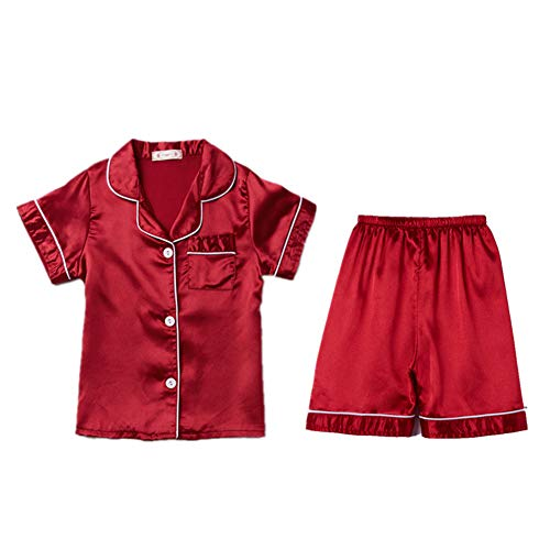 Digirlsor Little Boys Girls Short Satin Pajamas Set Classic Silk Pjs Toddler Kids 2 Piece Sleepwear Button-Down Short Sleeve Red
