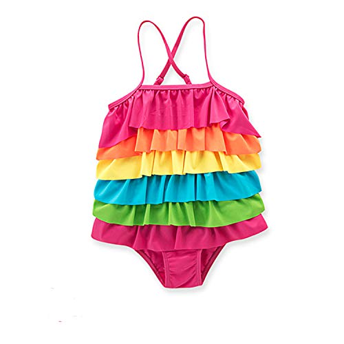 Wenge Girls Bathing Suits Rainbow Unicorn Swimsuits One Piece Swimwear(Unicorn Fantasy) (L (4-5 Years), Rainbow)