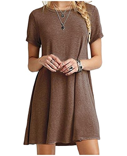 Coffee Pure Elegent Short Coolred Casual Colour Size Dress Plus Sleeve Women 6vPWaAwqf