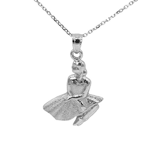 Ice on Fire Jewelry 14k White Gold Ballerina Pendant Necklace (No Chain)
