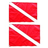 MonkeyJack 2 Pieces Large & Small Scuba Diving Diver Down Flag Safety Signal Marker Banner Kayak Boat Flag Warning Tool