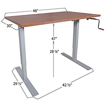 Titan 30 x 48 S5 Adjustable Height Sit to Stand Brown Wood Desk 28 – 47 H