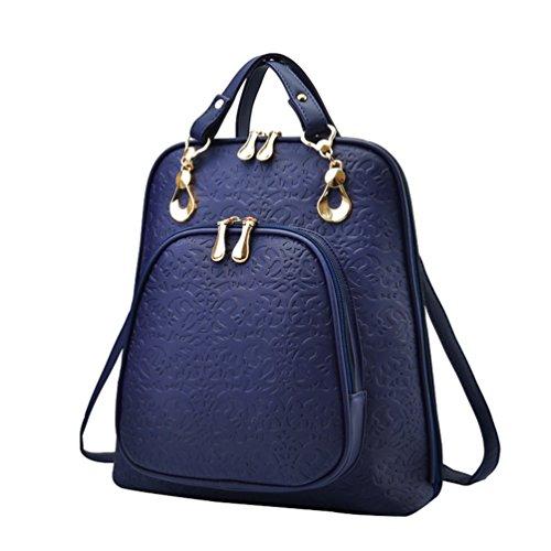 YAANCUN Mujeres Pu Cuero Backpack Mochilas Escolares Mochila Escolar Casual Bolsa Viaje Moda Cremallera Azul oscuro