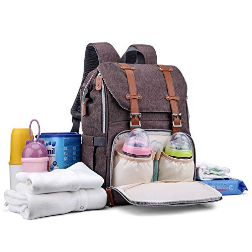 Diaper Bag Backpack, CANWAY Multifunction Travel Nappy Maternity Baby Bag Unisex with Changing Pad and Stroller Straps, Dividable Compartment Diaper Bag Large Capacity, Waterproof and Stylish, Brown