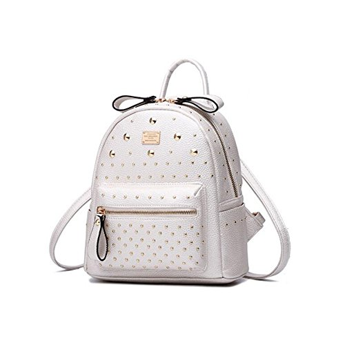 Backpack Girls Cute Backpack Leather Daypack Studded for Mini Casual White Women for Fashion aAF0wx