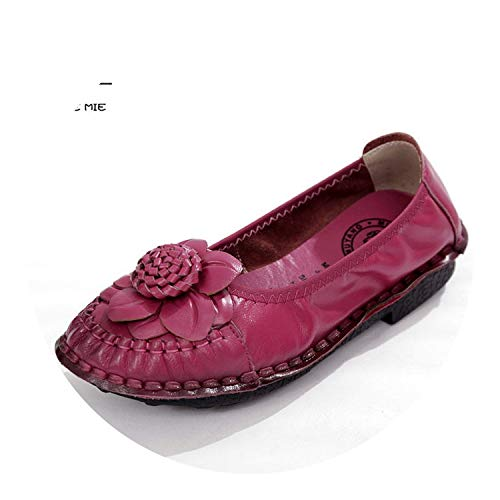 Personal Singles Lubricants Lubricants (Shoes Genuine Leather Flat Single Shoes Soft Comfortable Shoes Handmade Flower Flats,Red,7.5)