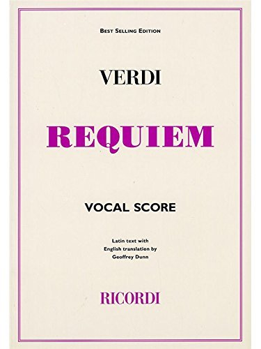 Giuseppe Verdi: Requiem (Ricordi Edition) - Vocal Score. Partitions pour Soprano/Alto/Tenor/Basse/SATB/Accompagnement Piano