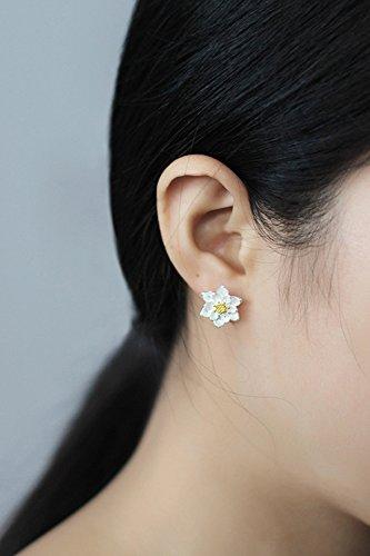 KENHOI Beauty s925 silver earrings earings dangler eardrop beautiful lotus women girls creative personality gift elegant country woman student hypoallergenic birthday college by KENHOI Beauty (Image #2)