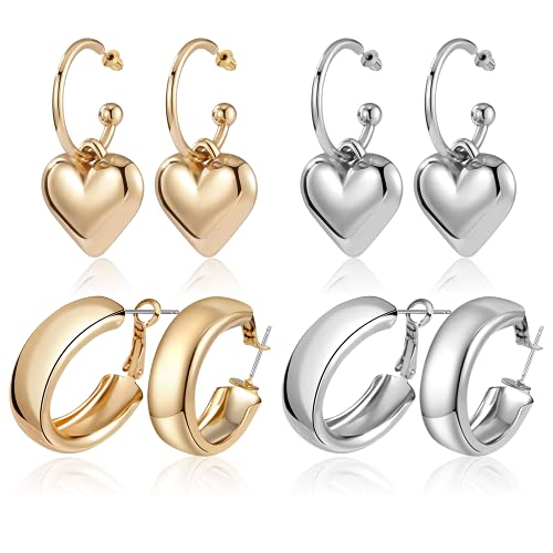 CHANBO 4 Pairs Heart-shaped Round Fashion Pendant Earrings Styles Statement Drop Dangle Earrings for Women Fashion Jewelry