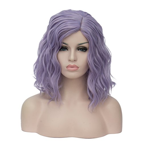 Costume Dramas Best (TopWigy Women's Cosplay Wig Medium Length Curly Body Wave Colorful Heat Resistant Hair Wigs Costume Party Bob Wig+Wig Cap (Silvery Blue))