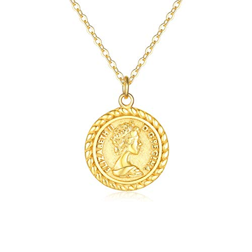 VACRONA Gold Coin Pendant Necklaces,18K Gold Filled Dainty Elizabeth Ⅱ Queen British Engraved Disc Vintage Pendants Necklaces Minimalist Jewelry for -
