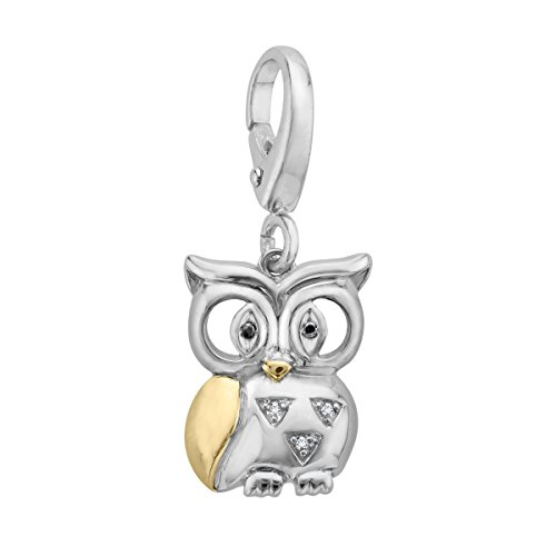 Owl Charm with Diamonds in Sterling Silver & 14K Gold