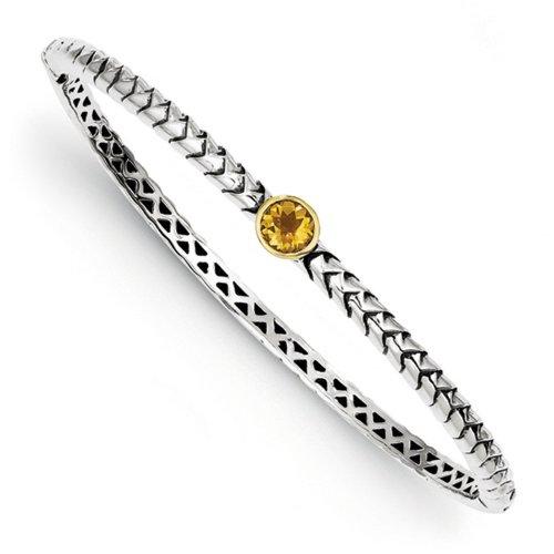 Icecarats Créatrice De Bijoux En Argent Sterling W / 14K Citrine 6Mm Articulé Bracelet