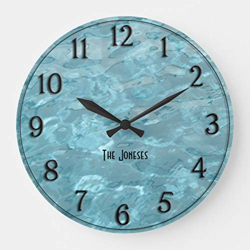 OSWALDO Personalize: Swimming Pool Water - Summer Abstract Decorative Round Wooden Wall Clock - 12 inch