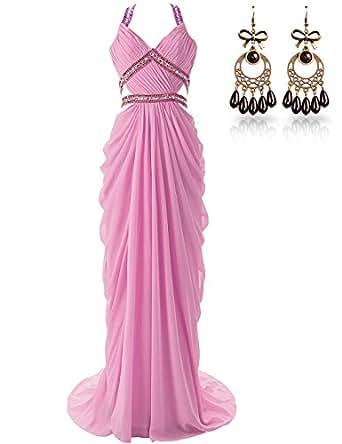 Amazon.com: JAEDEN Open Back Beaded Straps Long Sexy Prom